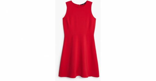 Mango czerwona klasyczna sukienka