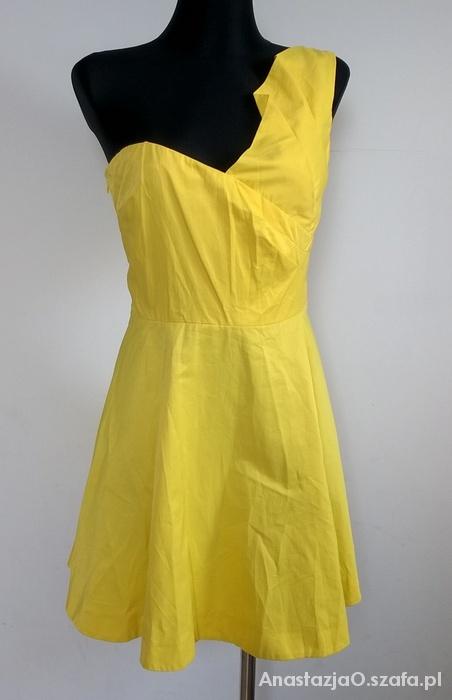 RIVER ISLAND śliczna żółta kloszowana sukienka XL...