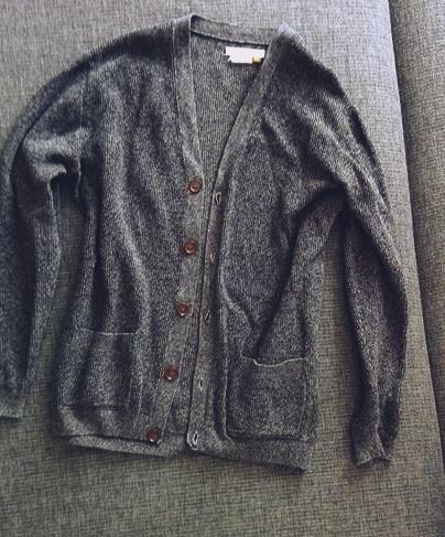 męski kardigan swetr na guziki szary grafit S M...