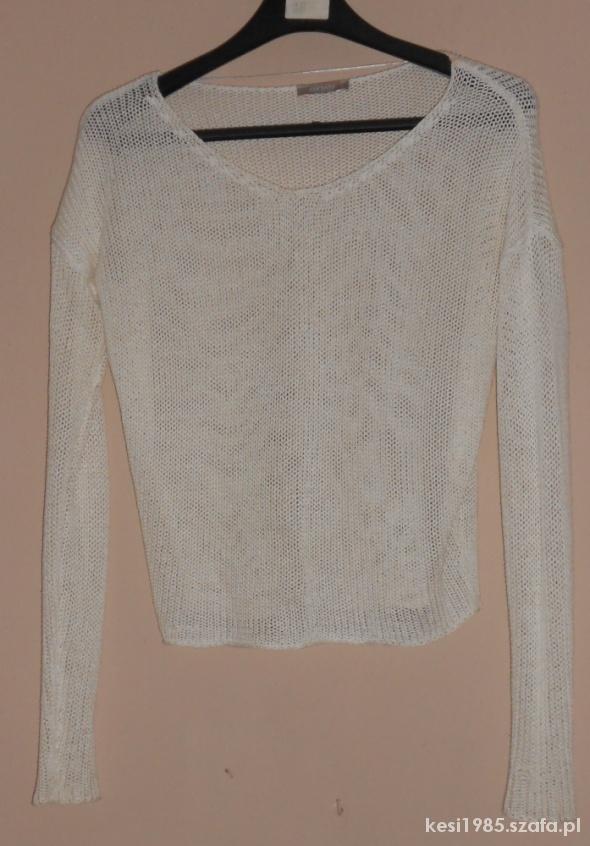 biały ażurowy krótki sweterek orsay...