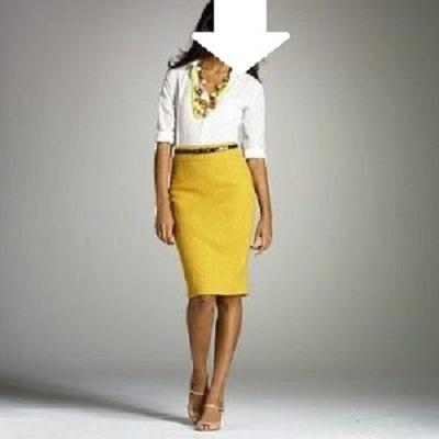 Zolta olowkowa spodnica obcisla M