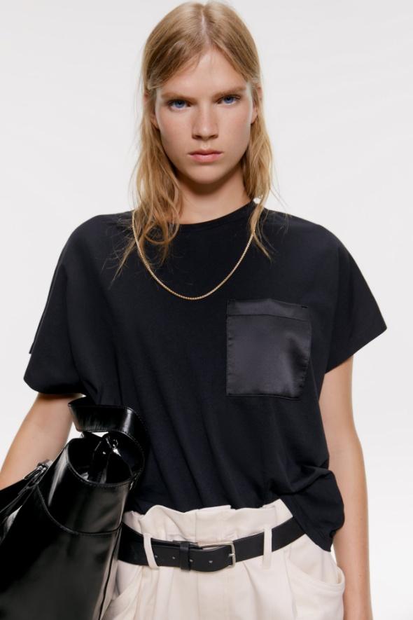 koszulka z satynową kieszenią...