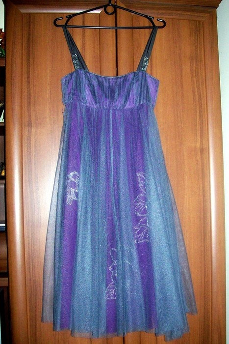Sukienka ramiączka tiul fioletowa Monsoon