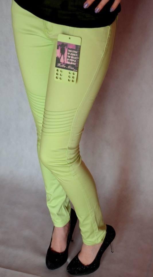 limonkowe spodnie bawełniane