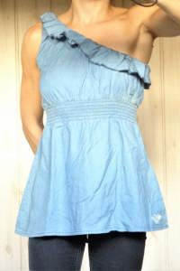 Tunika asymetryczna niebieska dżinsowa s 36...