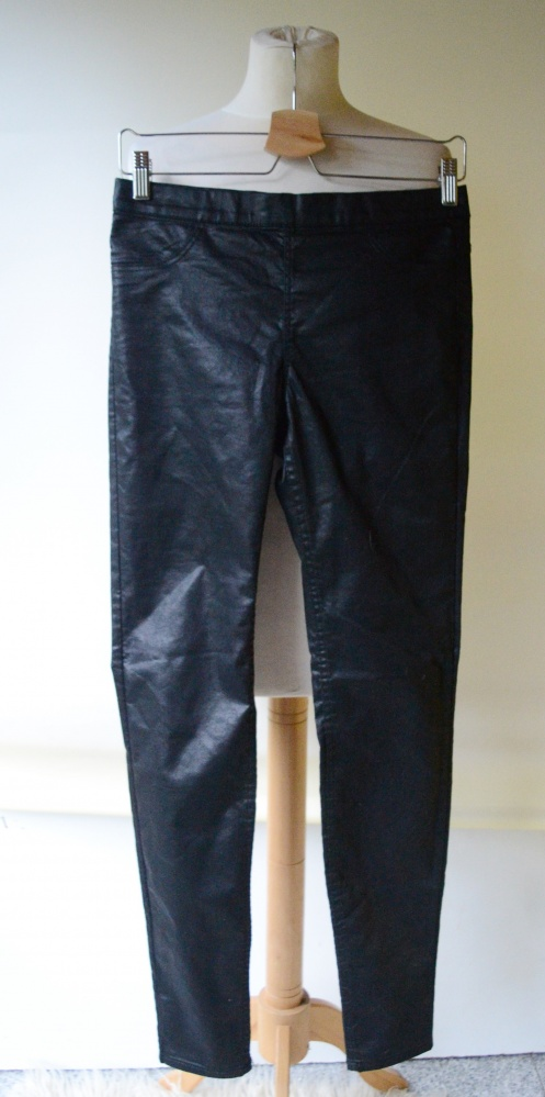 Spodnie Czarne Woskowane H&M M 38 Rurki Tregginsy