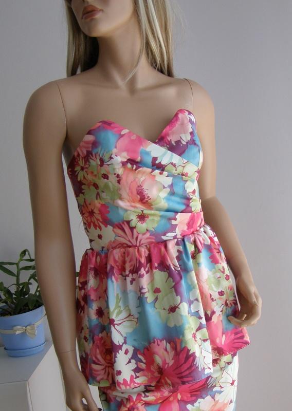 Sukienka kwiaty dekolt baskinka wesele S M