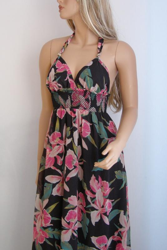 sukienka kwiaty podszewka M wiązana długa