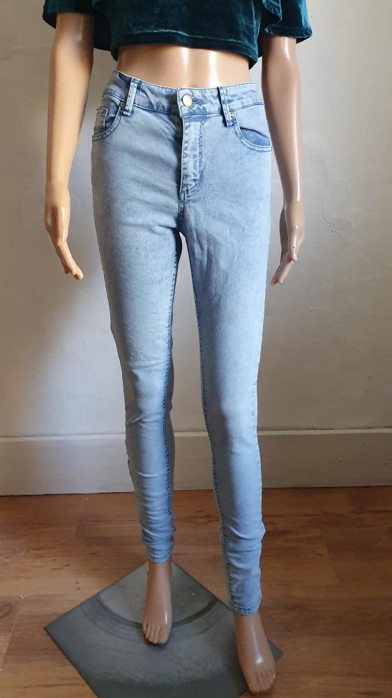 Jeansowe spodnie rurki wysoki stan r XXS...