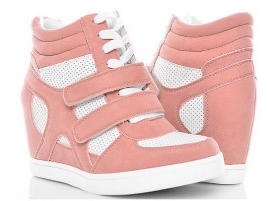 sneakersy różowe pudrowe 40 na koturnie