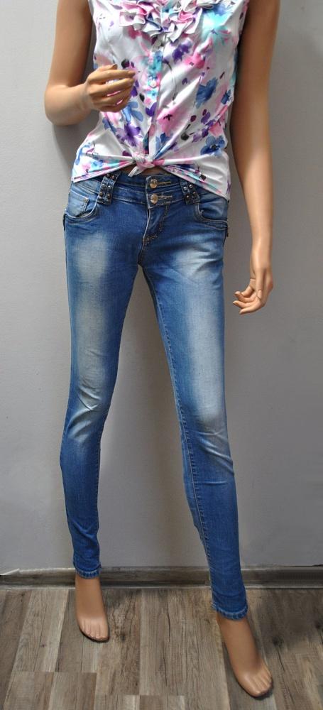 Niebieskie Spodnie Jeansy Dżinsy Rurki Slim Skinny Srebrne Zawieszki Charms Kłódka Ćwieki Cieniowane XS S