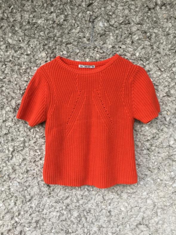 Krótki sweter Crop top zara pomarańcz