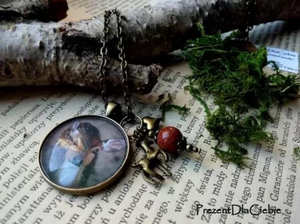 sarna wisior medalion łańcuszek naszyjnik vintage stare złoto o...
