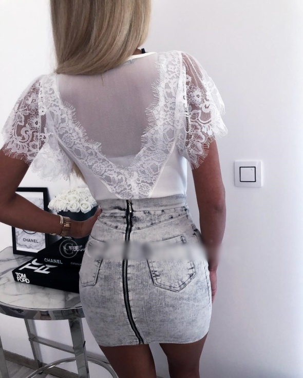 Bluzeczka biała koronka siateczka mega sexy