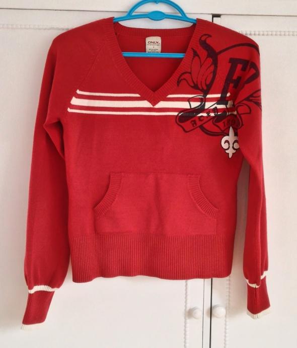 Sweter ONLY czerwony serek vintage retro bluzka S...
