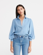 Jeansowa koszula z bufiastymi rękawami...
