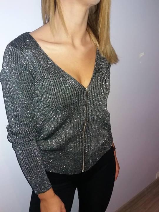 rozpinany sweterek HM błyszczacy srebrny