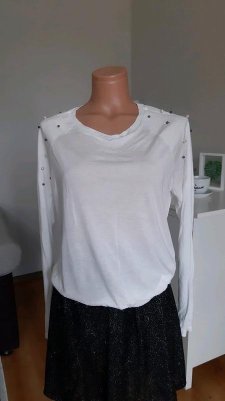 Biała bluzka z koralikami L