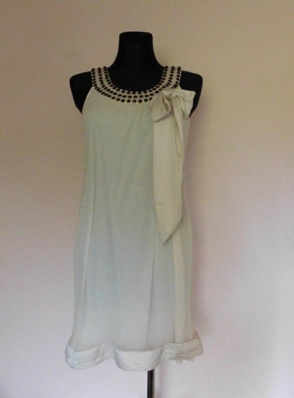 Suknie i sukienki Vero Moda sukienka ecru jedwab 36