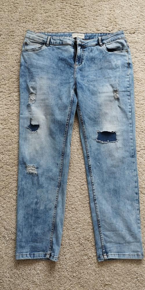 Spodnie boyfriend jeansowe Reserved łaty rozm 42 marmurek...