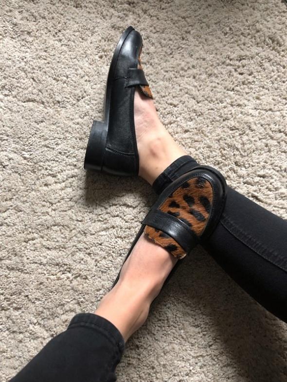Mokasyny skórzane skóra naturalna 36 panterka pantera Dunnes Stores baleriny balerinki Lordsy
