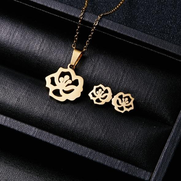 Kolczyki róże łańcuszek z zawieszką stal...