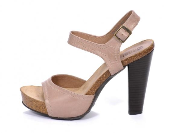 NESSI skórzane beżowe sandały słupek skóra 37