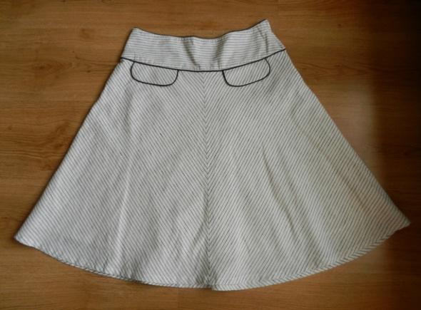 Spódnica len lniana paski biała Atmosphere 40 L...