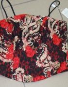 Sukienka komplet czarno czarwona gorset spódnica w...