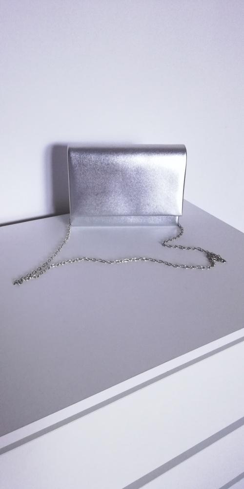 NOWA srebrna torebka kopertówka
