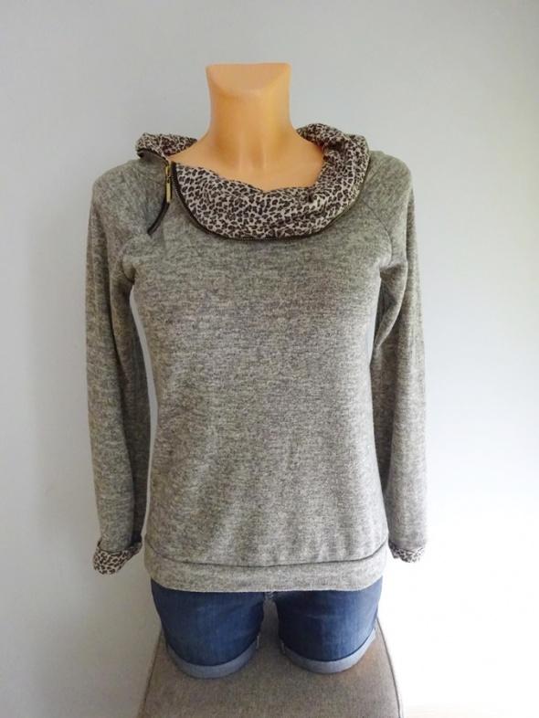 bluza z dodatkiem panterki zip panterka sweter 36 S