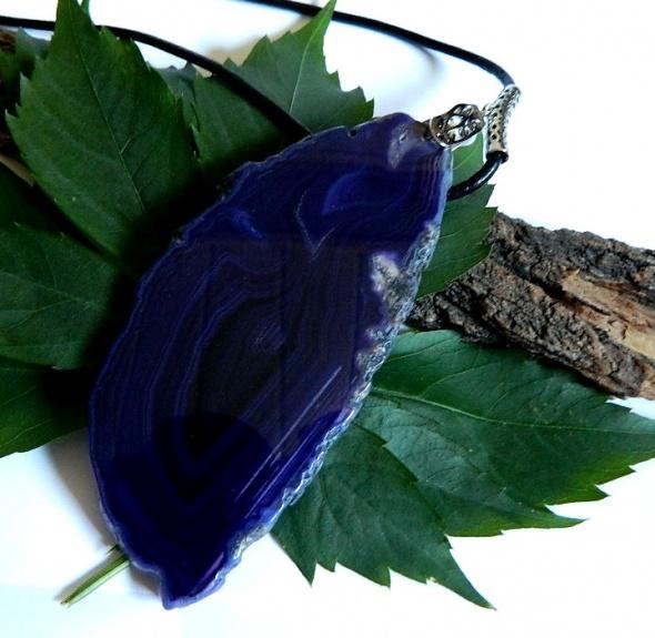 Wielki fioletowy agat efektowny wisior 14 cm
