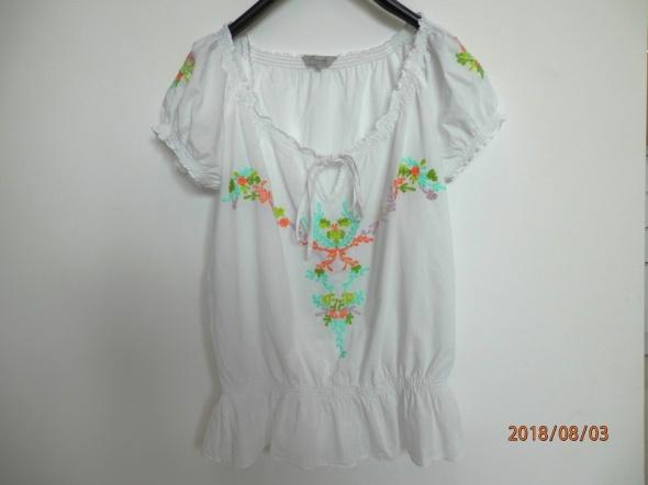 Bluzka Biała Zdobiona Neonowym Haftem Bawełniana Boho by UK 40