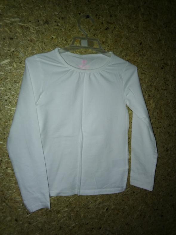H&M Basic Biała bawełniana bluzka z długim rękawem 110 116 cm