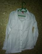 Biała elegancka dziewczęca koszula z kołnierzykiem 116 cm...