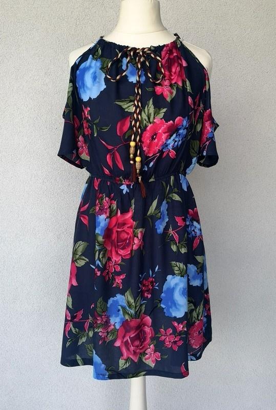 NOWA sukienka w kwiaty odsłonięte ramiona S...