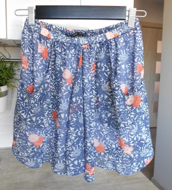 Zara spódnica mini wzory szyfonowa kwiaty floral zwiewna