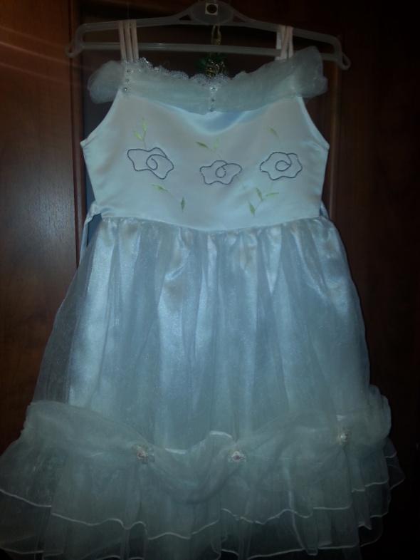 Sukienka cudna biała 140 na ślub Boże Ciało po komunii i inne okazje