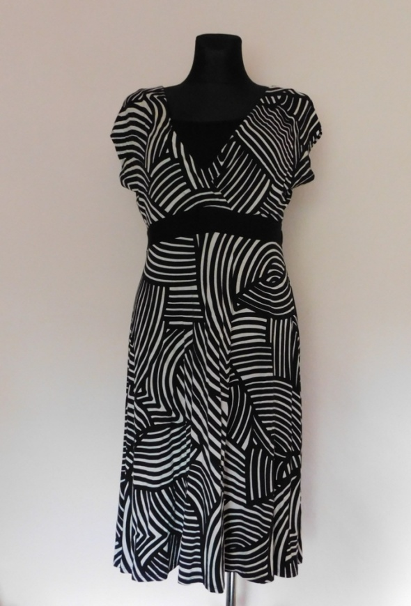 BHS sukienka midi czarna beż 42 44
