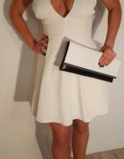 Sukienka biała dekolt rozkloszowana r 38 M...