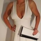 Sukienka biała dekolt rozkloszowana r 38 M
