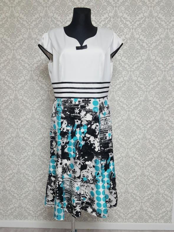 biało turkusowa sukienka z czarnym Szulc