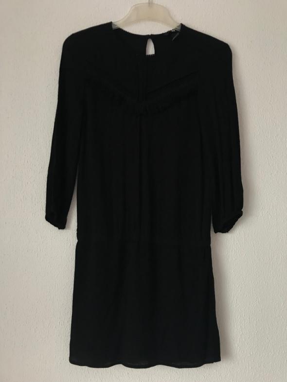 elegancka czarna sukienka H&M XS 34 z frędzelkami