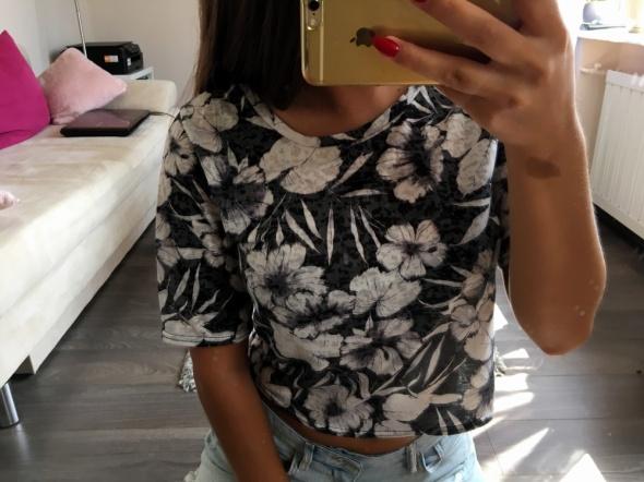 Szara bluzka w białe kwiaty NEW LOOK M