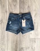 Krótkie spodenki szorty jeansowe przetarcia dziury...