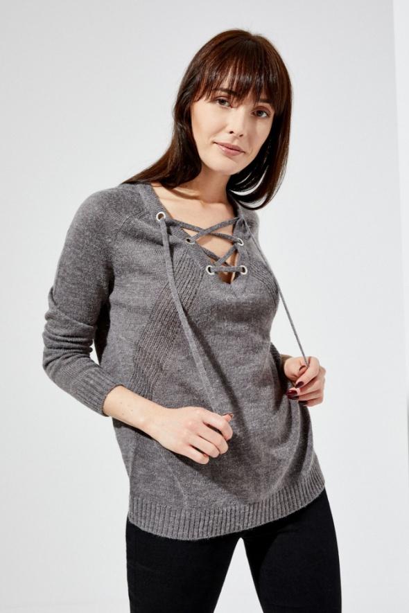 Sweter z wiązaniem sznurowanie 36 S