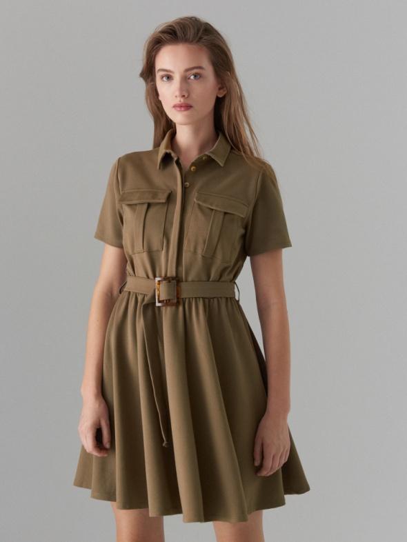 Koszulowa sukienka w stylu safari 38 Mohito