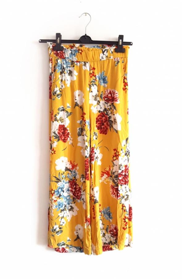 Spodnie Gina Tricot kuloty szerokie spodnie kwiaty kolorowe 34 36 XS S