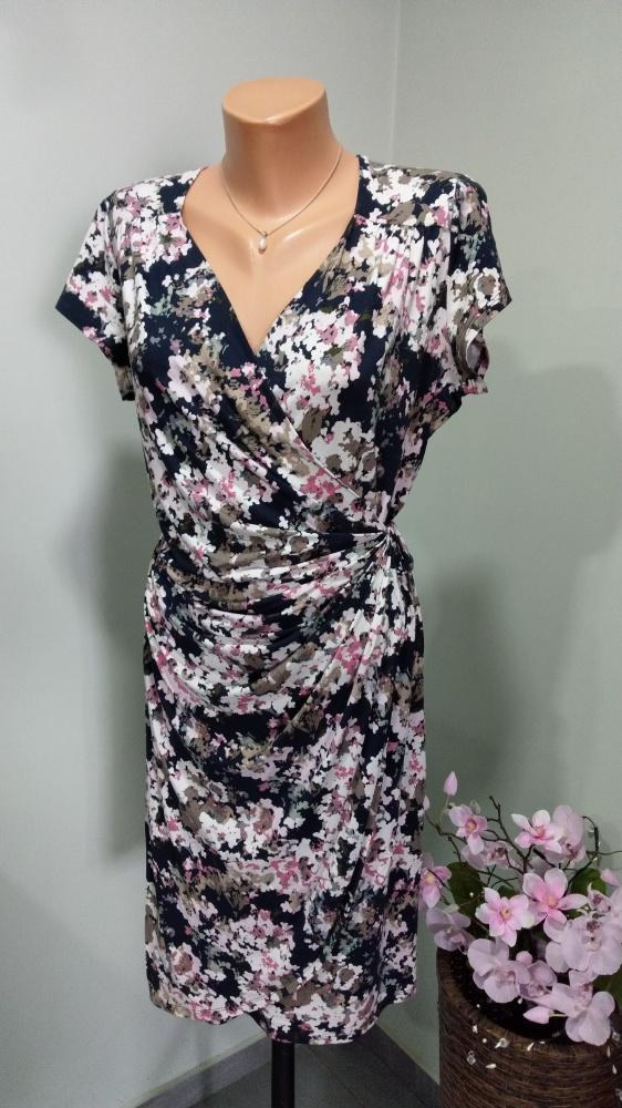 Suknie i sukienki sukienka kopertowa w kwiaty 42