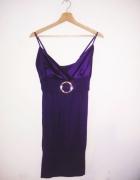Fioletowa krótka sukienka na imprezę tunika wesele mini vintage...